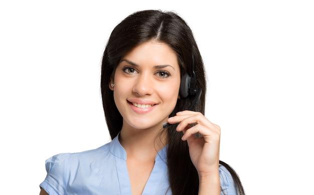 Portrait d'un beau représentant du client au travail