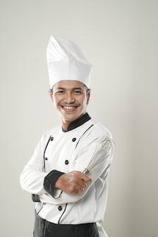 Portrait de chef souriant asiatique