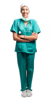 Portrait de chirurgien isolé sur fond blanc