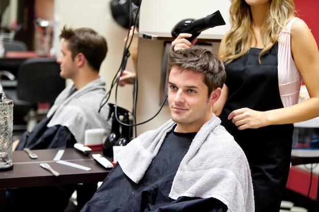 Portrait, client, coiffeur