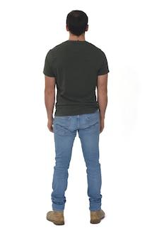 Portrait complet de la vue arrière de l'homme sur fond blanc