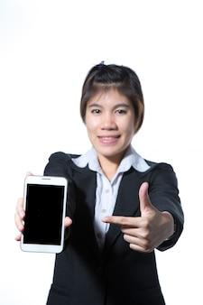 Portrait, de, confiant, intelligent, femme affaires, tenue, tablette, informatique