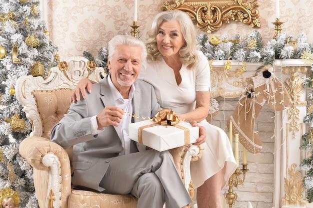 Portrait d'un couple de personnes âgées heureux assis dans un fauteuil dans une chambre décorée pour les vacances de noël