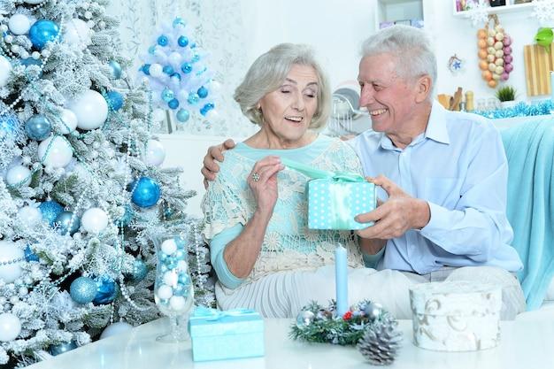 Portrait d'un couple de personnes âgées heureux se préparant à noël à la maison