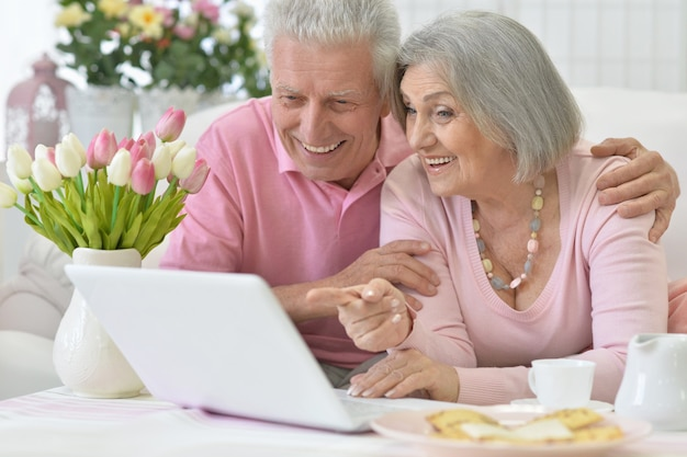 Portrait de couple senior avec ordinateur portable à la maison