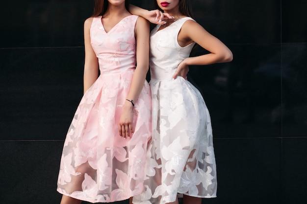 Portrait de deux belles femmes brune de luxe