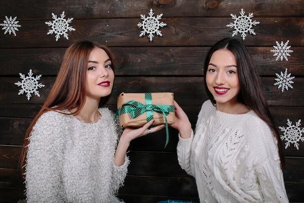 Portrait de deux belles filles à noël
