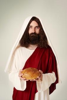 Portrait du christ avec du pain