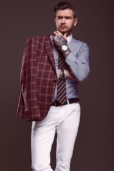 Portrait, élégant, costume laine