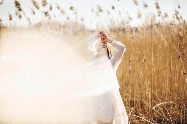 Portrait ensoleillé d'une belle jeune fille sur le fond d'un champ de blé