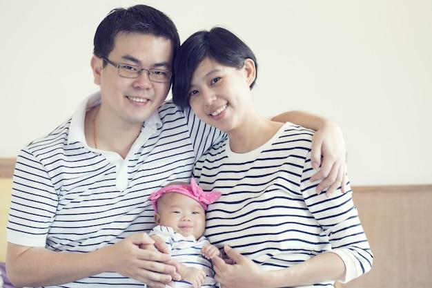 Portrait de famille asiatique dans la maison de studio.