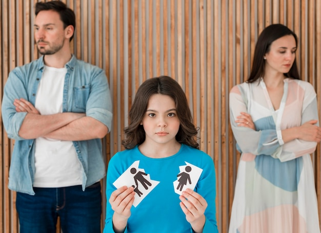 Portrait, famille, enfant, rupture, haut