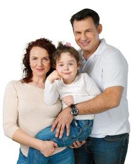 Portrait de famille heureuse avec fille, isolé sur fond transparent
