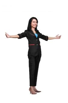 Portrait de femme d'affaires asiatiques debout avec la main ouverte