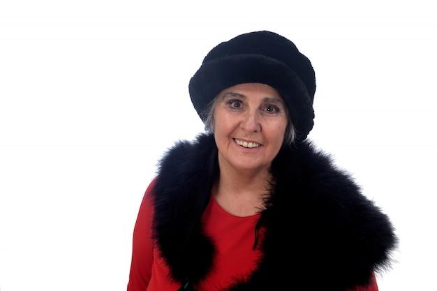 Portrait, femme aînée, chapeau