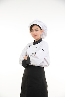 Portrait de femme asiatique jeune chef brune