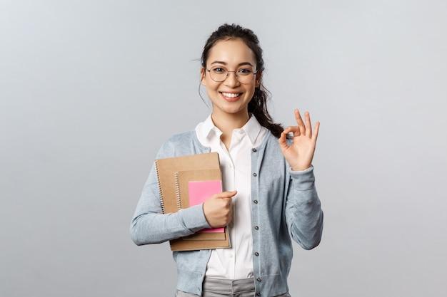 Portrait, de, femme asiatique, prof