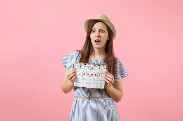 Portrait d'une femme choquée en robe bleue, chapeau tenant un calendrier de périodes pour vérifier les jours de menstruation isolés sur fond rose tendance brillant. concept médical, sanitaire, gynécologique. espace de copie