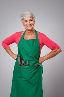 Portrait de femme jardinier senior