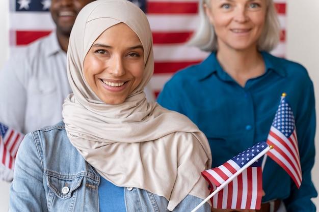 Portrait de femme le jour de l'inscription des électeurs