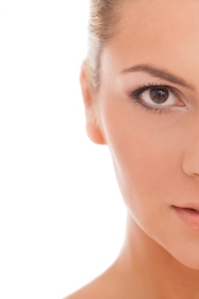 Portrait, femme, jour, maquillage