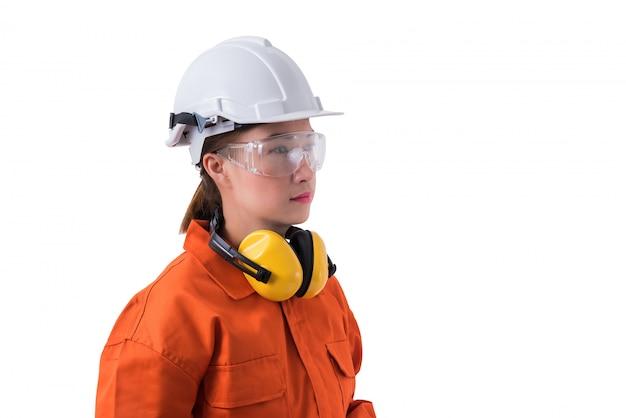 Portrait, femme, ouvrier, mécanicien, combinaison, isolé, blanc
