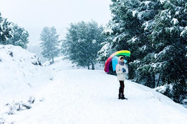 Portrait d'une femme avec un parapluie coloré marchant sur un paysage de montagne.