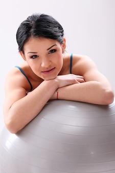 Portrait, femme, pilates