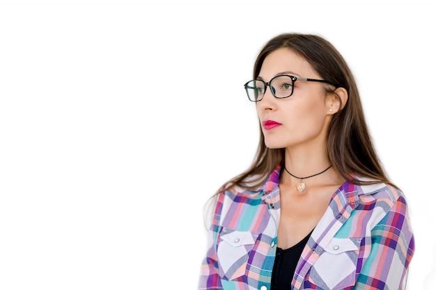 Portrait, femme, porter, lunettes