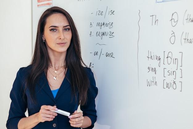 Portrait de femme professeur d'anglais devant tableau blanc.