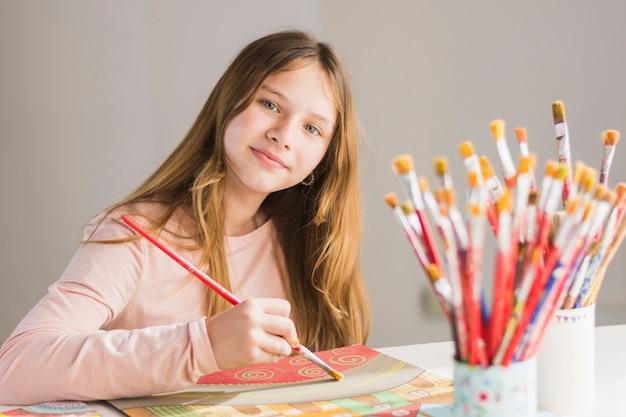 Portrait, girl, peinture, papier, brosse