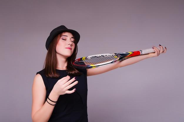 Portrait, girl, tennis, raquette, jouer, violon