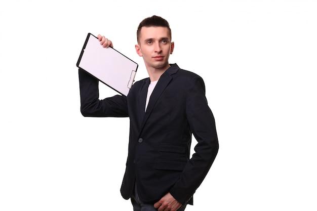 Portrait, de, heureux, homme affaires, projection, vide, presse-papiers