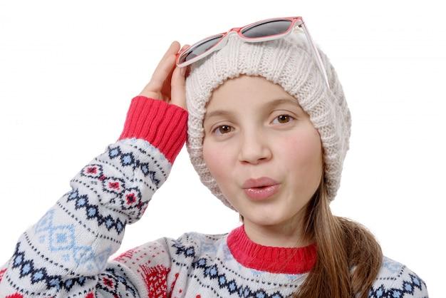 Portrait, de, a, heureux, jeune femme, snowboard