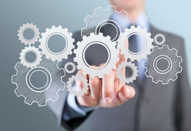 Portrait d'homme d'affaires appuyez sur le bouton opportunity sur l'écran virtuel