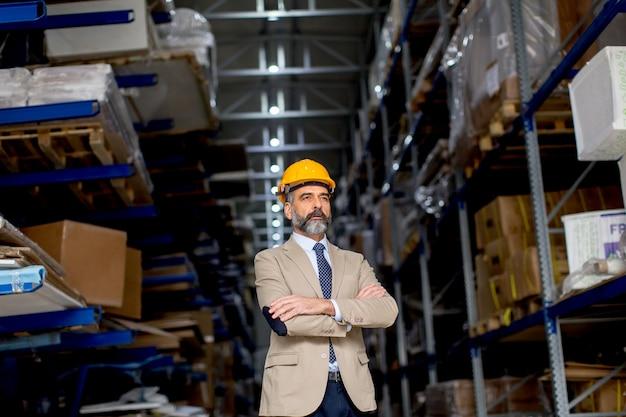 Portrait d'homme d'affaires beau senior en costume avec casque dans un entrepôt