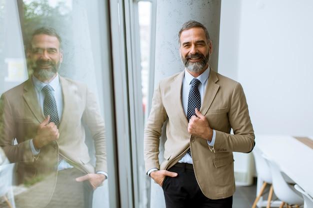 Portrait d'homme d'affaires senior près de la fenêtre
