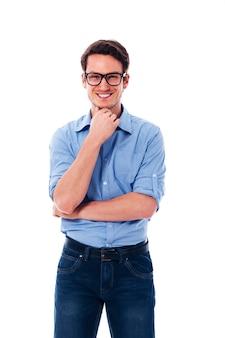 Portrait, de, homme souriant, porter, dans, lunettes