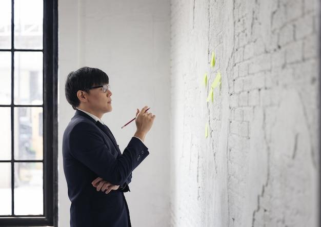 Portrait d'hommes d'affaires post-it wall brick
