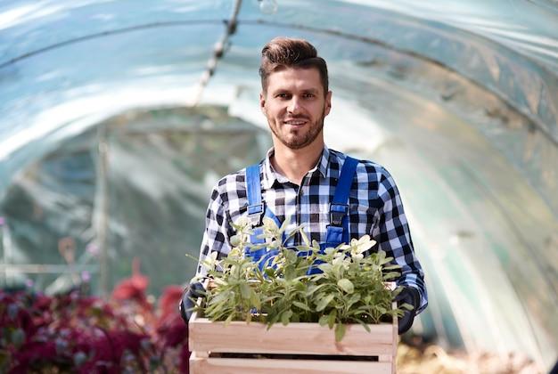 Portrait de jardinier tenant une caisse en bois avec des semis