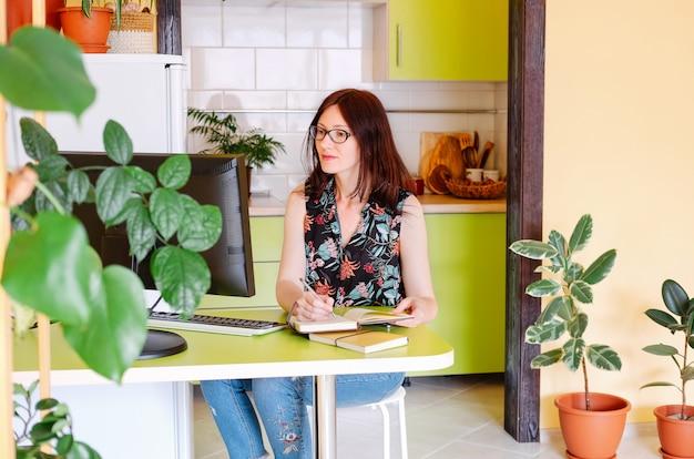 Portrait de jeune femme belle travaillant avec des ordinateurs à la maison ou co-lieu de travail