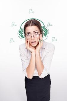Portrait de jeune femme centre de support opérateur