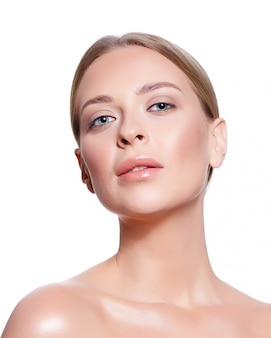 Portrait, jeune, femme, clair, maquillage