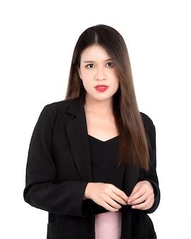 Portrait d'une jeune femme en costume