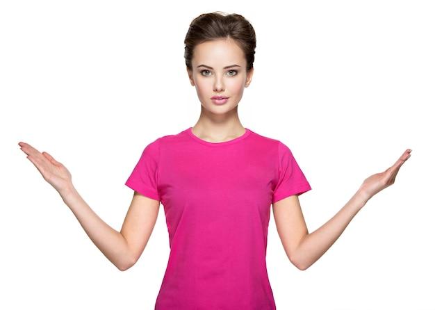 Portrait, de, jeune femme, à, mains haut