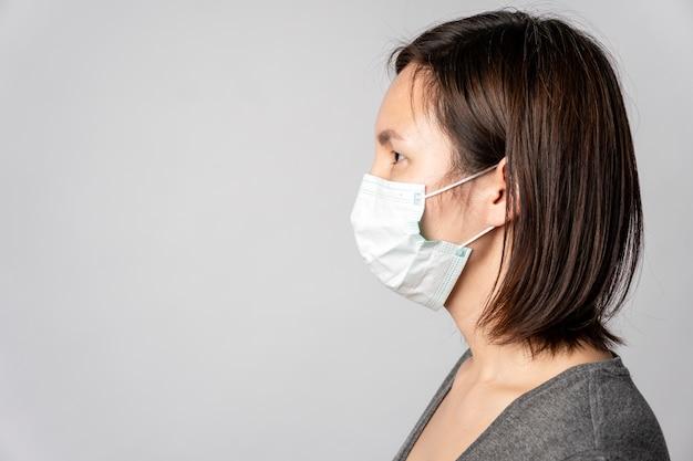Portrait de jeune femme avec masque chirurgical