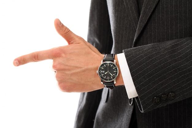 Portrait, jeune, homme affaires, mains, fin, haut