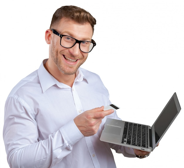 Portrait de jeune homme d'affaires avec ordinateur portable