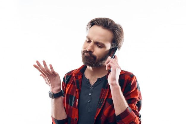 Portrait, de, jeune homme, parler, sur, téléphone portable