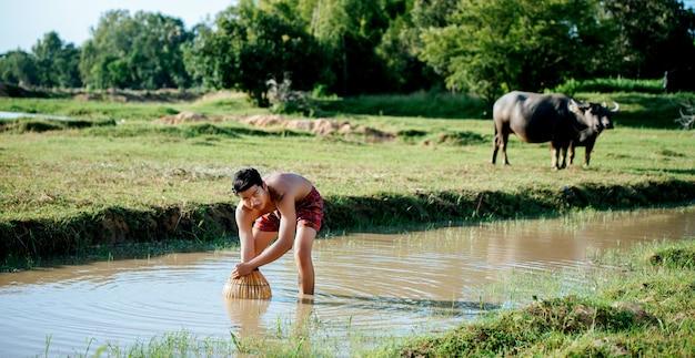 Portrait jeune homme seins nus utiliser un piège à pêche en bambou pour attraper du poisson pour la cuisson